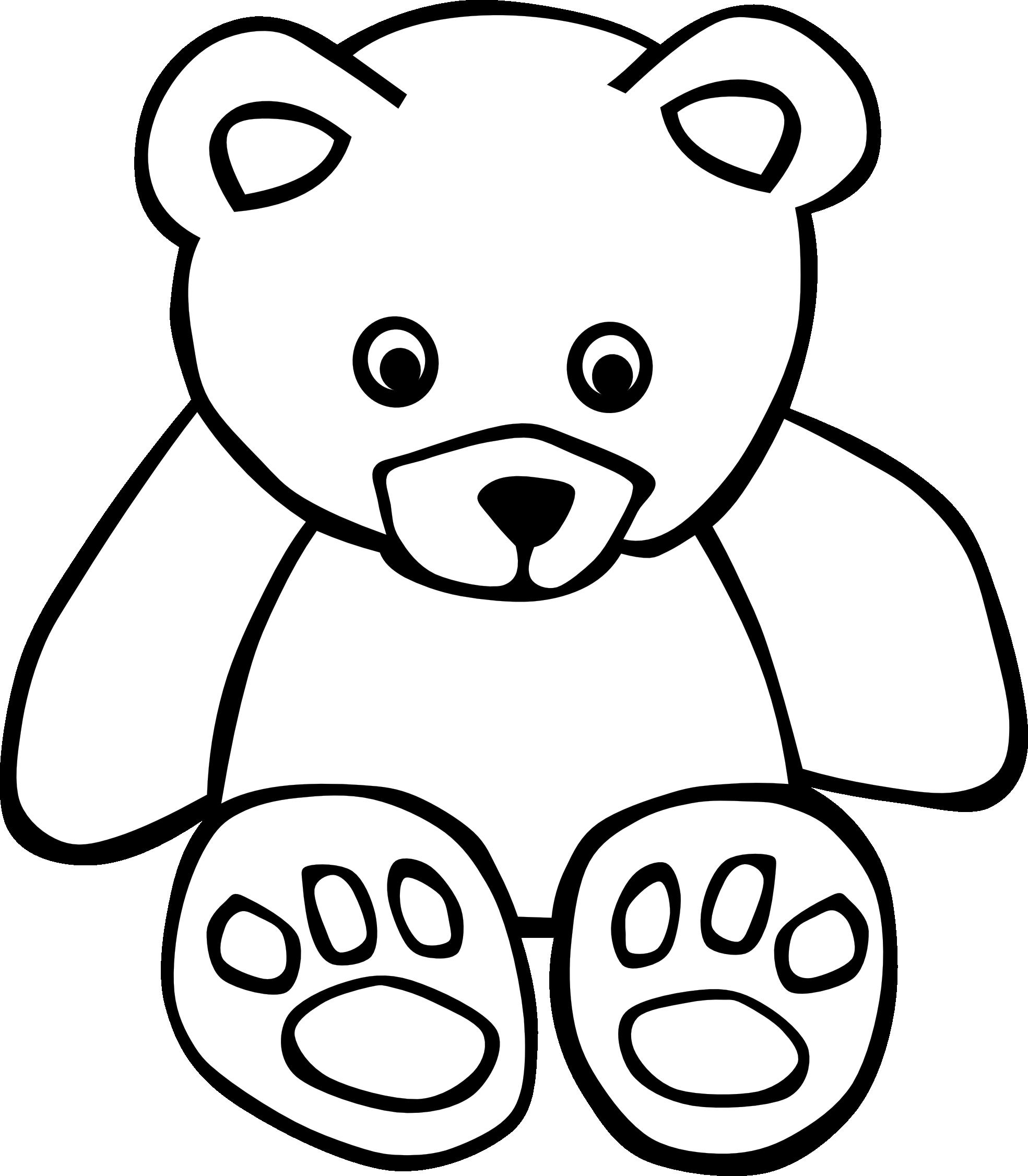 83 Bear Black White Line Art Teddy Bear