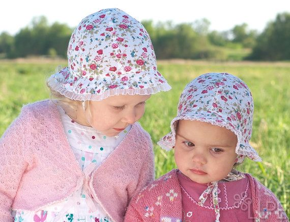 Baby girl summer hat cotton fabric white with red by Lupeworks, $22.00