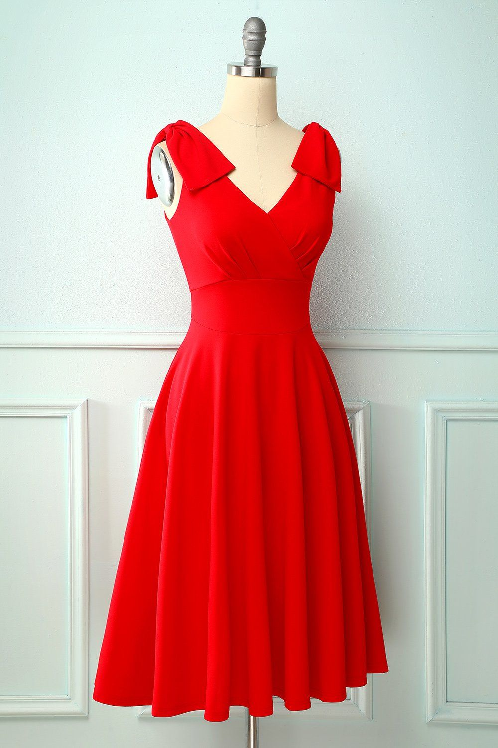 Vintage Red Dress With Pockets Red Rockabilly Dress Classic Red Dress Red Dress Outfit [ 1500 x 1000 Pixel ]