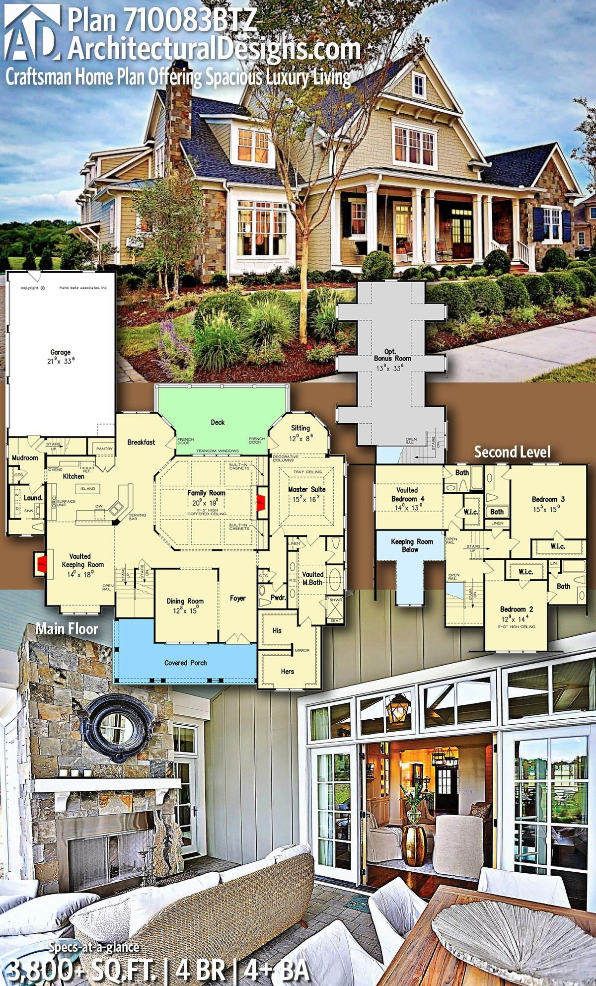 Architectural designs home plan btz gives you bedrooms baths and sq also craftsman offering spacious luxury living rh ar pinterest
