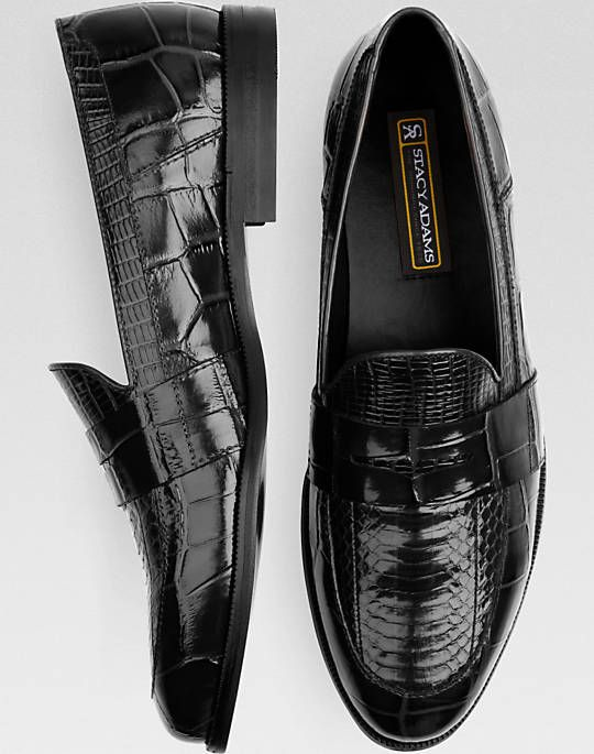 5a0de57a0b8  85 Fit  2 Stacy Adams Black Snakeskin Penny Loafers