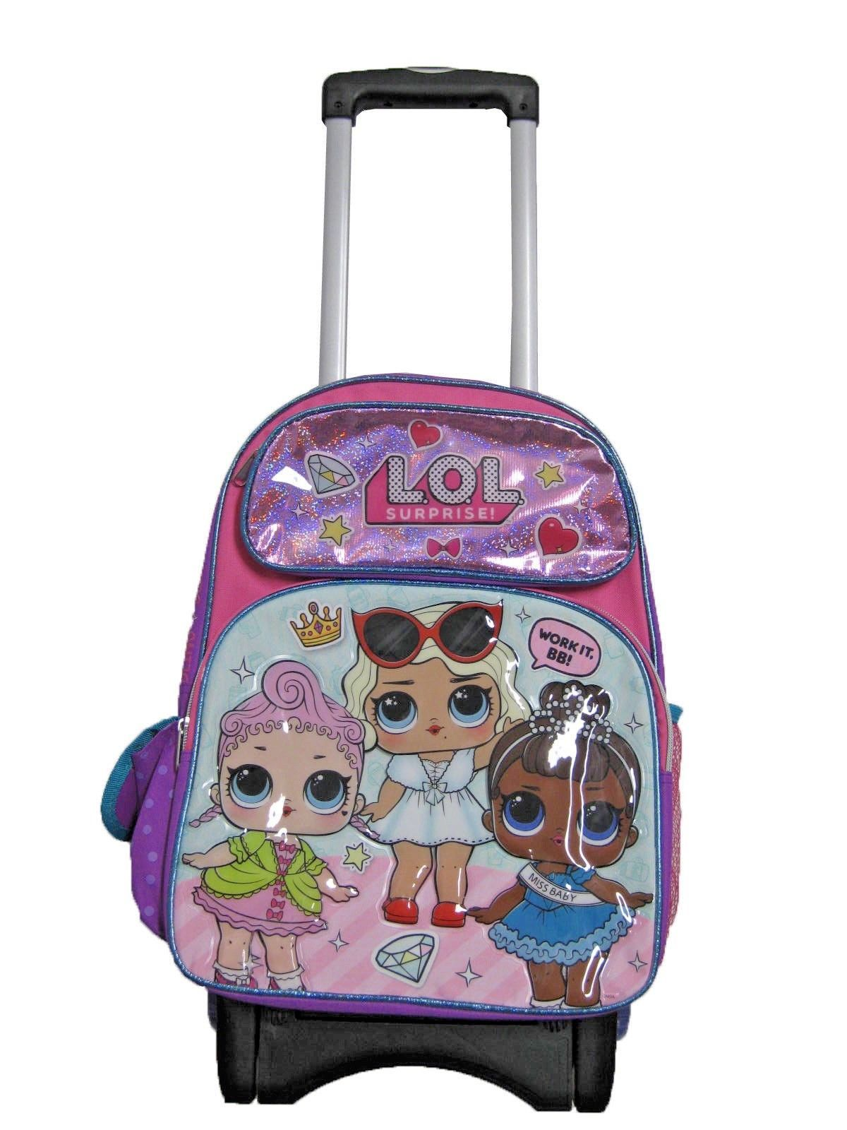 "A14344 LOL Surprise Large Custom Rolling Backpack 16"" x 12"
