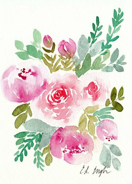 Loose Watercolor Flowers Painting By Elise Engh Floral