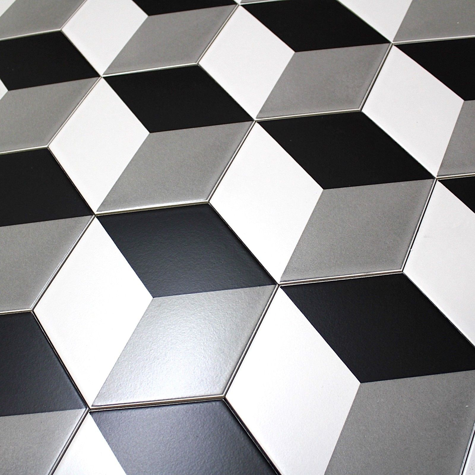 Carrelage imitation ciment noir et blanc hexagonal cim for Carrelage hexagonal couleur