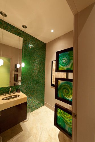 Those glass panels provide a visual partition for the commode - great idea!  Green Bathroom Design, Pictures, Remodel, Decor and Ideas - page 2