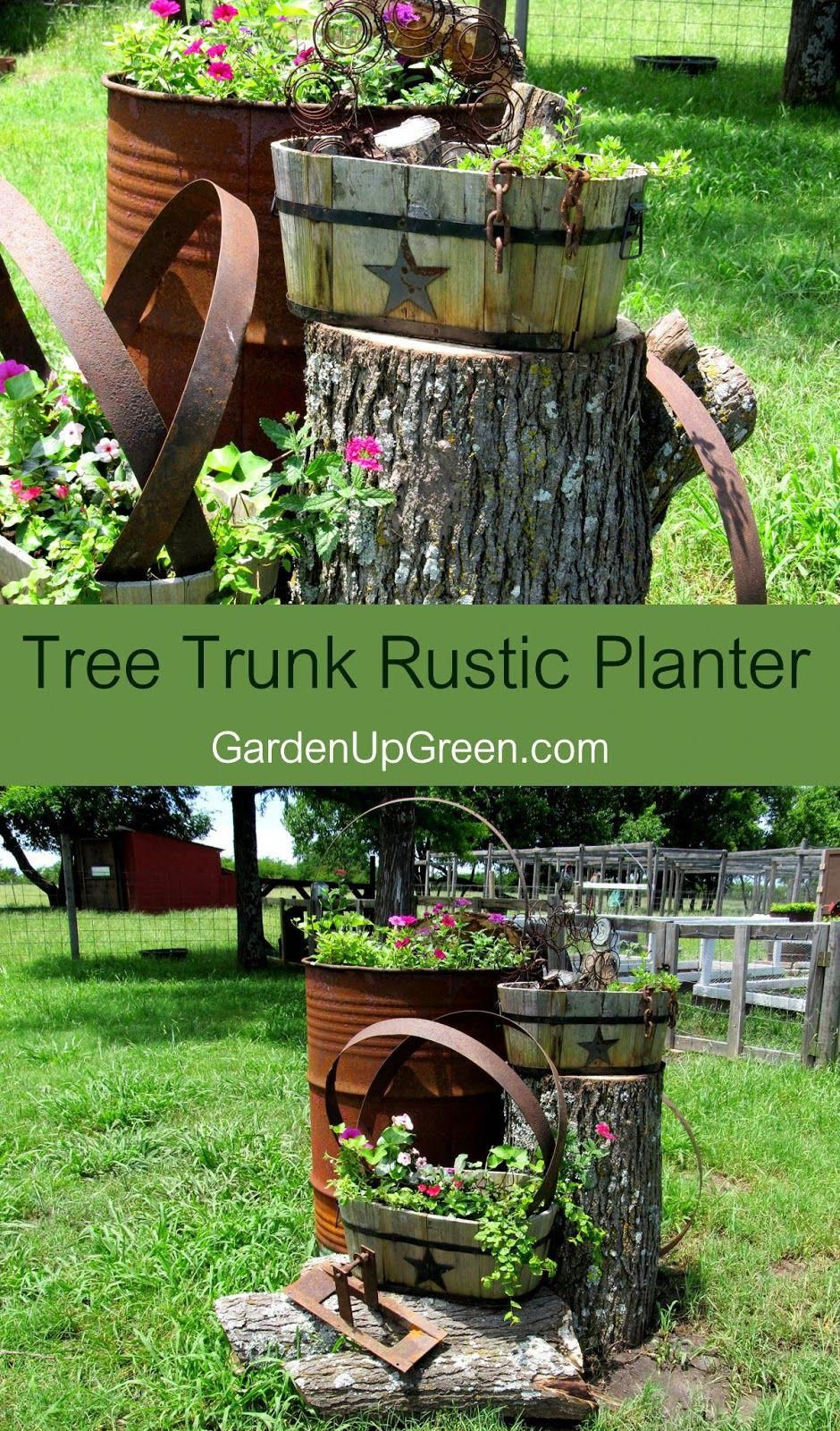 You can create extreme rustic planting fun using barrel