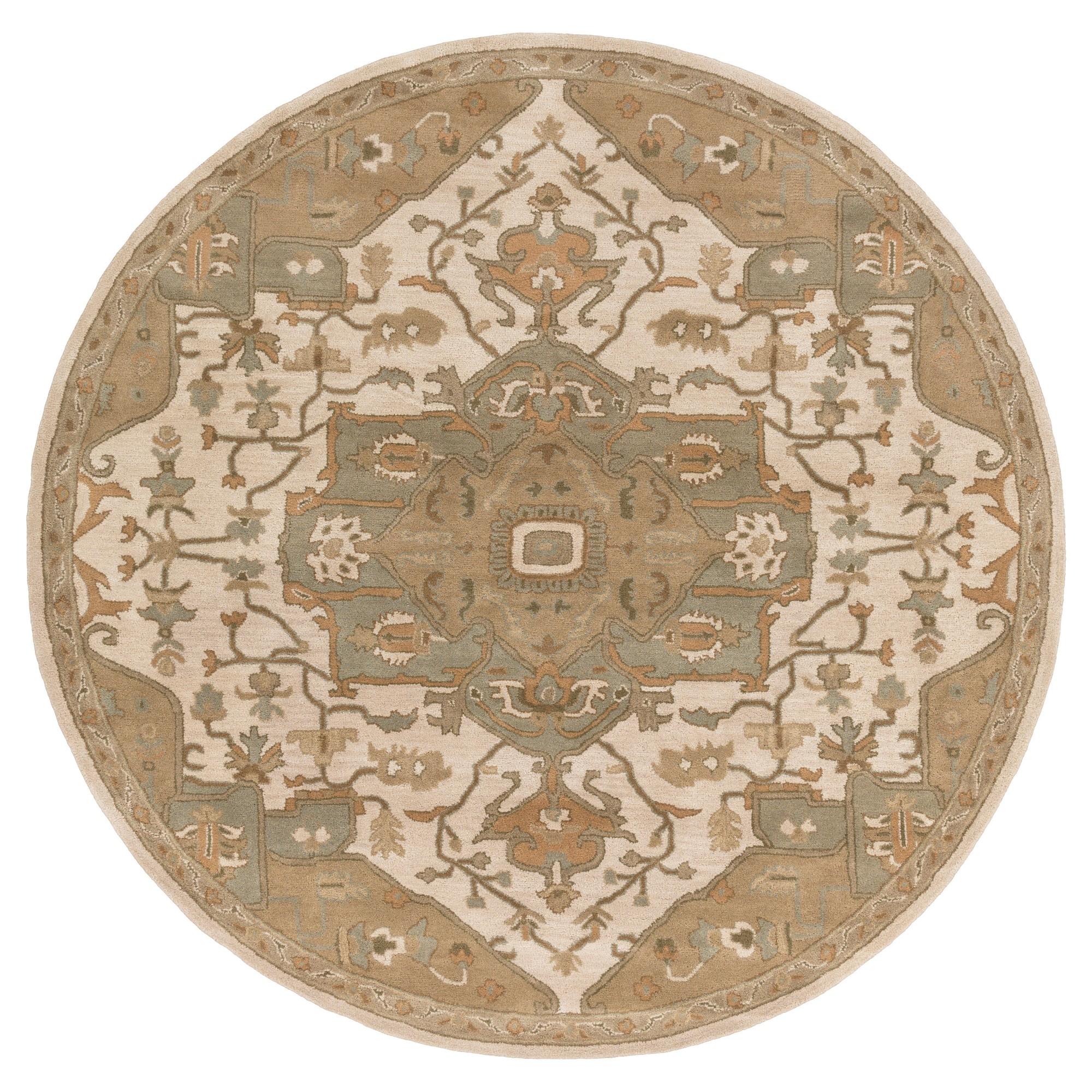 Demetrios Area Rug Khaki Medium Gray 9 Round Surya