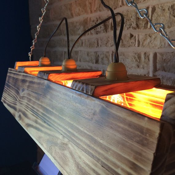 Triple 3x Lamp Bar Table Light Rustic Burned Burnt Wood Distressed Old  Fashioned Suspended Hanging