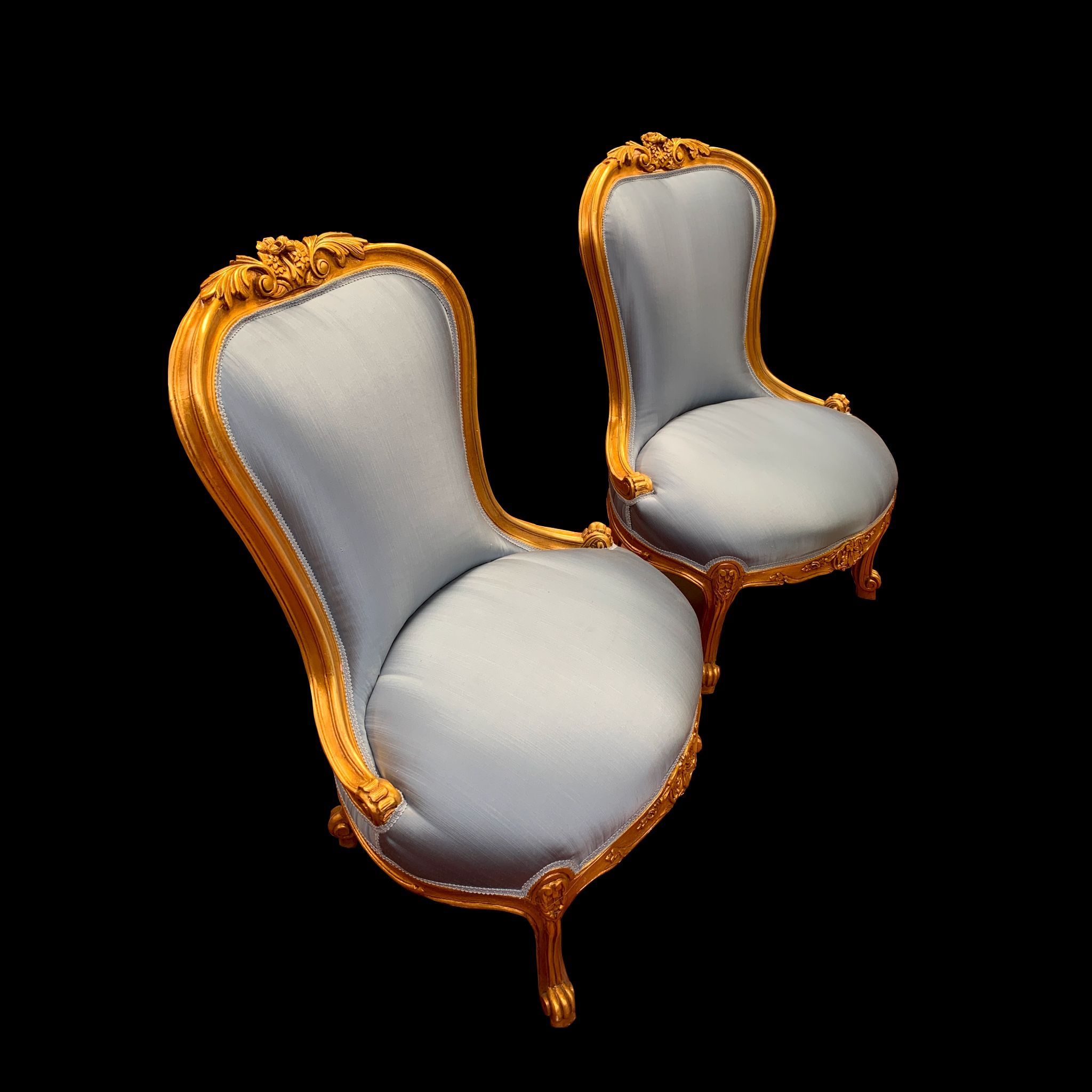 Best Classic Louis Xv Style Accent Chairs With Blue Taffeta And 400 x 300