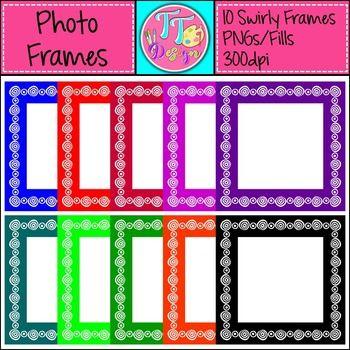 Swirl Square Photo Frames Clip Art CU OK FREE