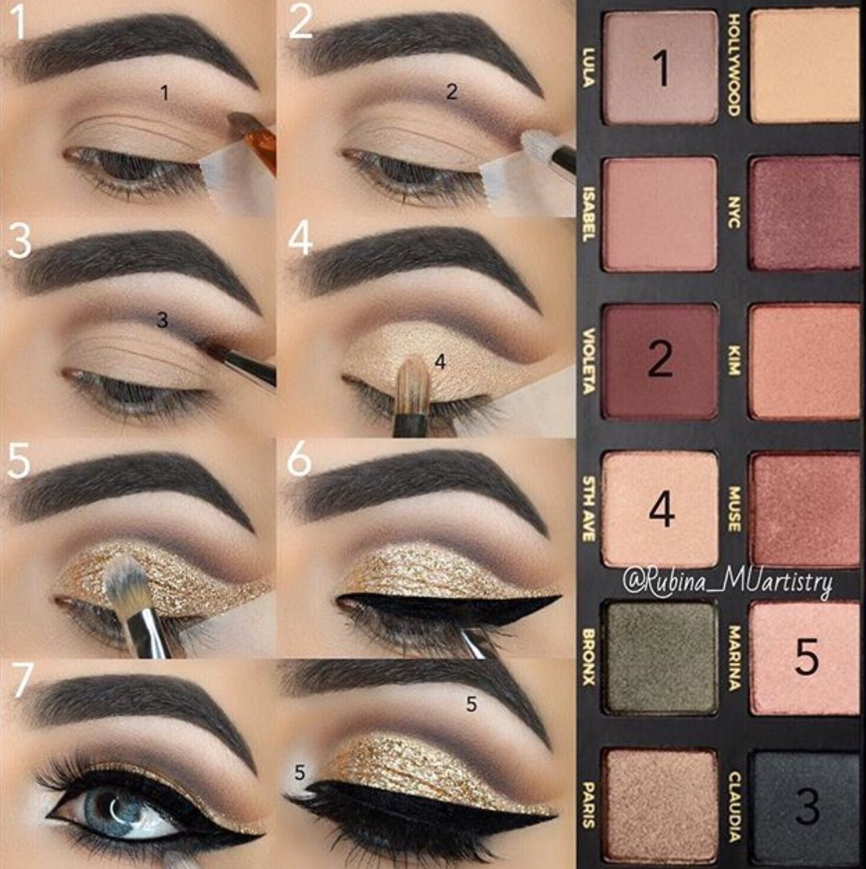 Pin by lily melendez on beauty pinterest makeup eye makeup makeup tutorial black cut crease with glittery gold a super glam makeup look perfect for dinner dates weddings prom or parties baditri Images