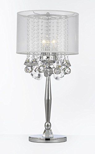 Silver Mist 3 Light Chrome Crystal Table Lamp With White Shade Transitional Contemporary Modern Crystal Table Lamps Bedroom Crystal Lighting Silver Table Lamps