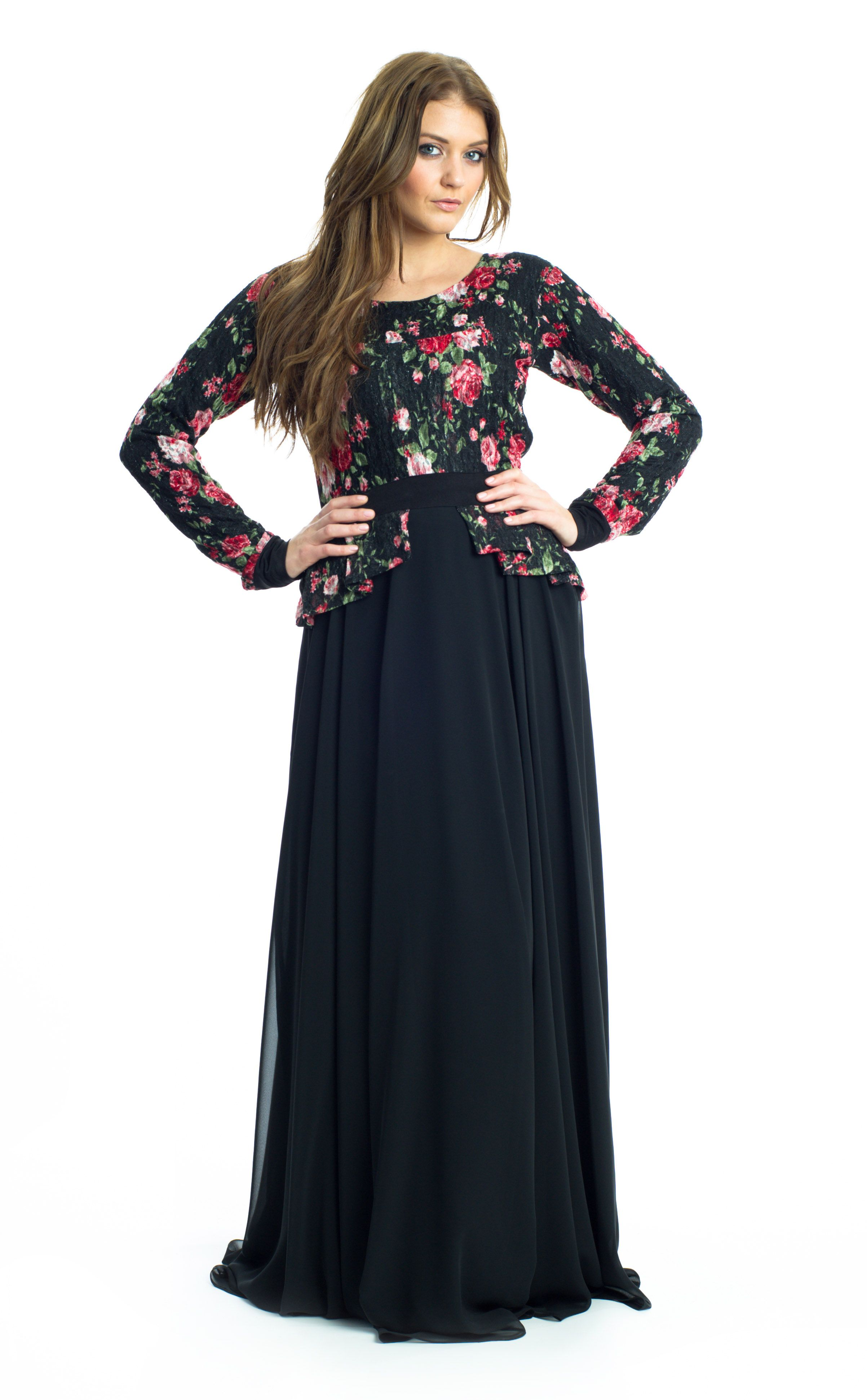 fdc3f3732 The Central Park Dress. Black, Beige and Multi-Colored Abaya Dress * Floral