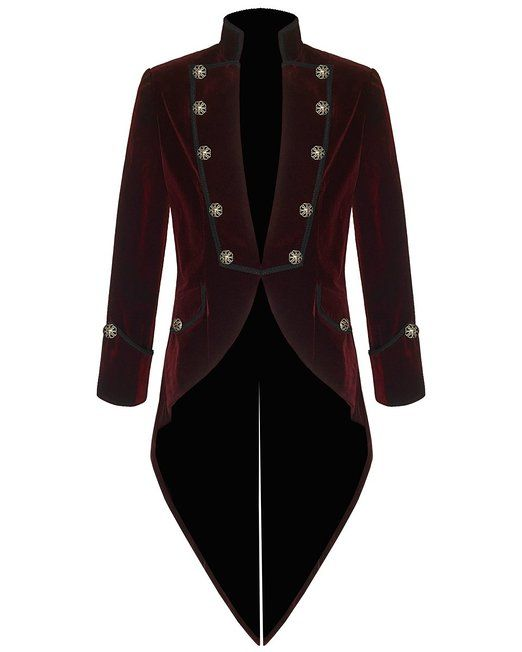 Pentagramme Mens Steampunk Tailcoat Jacket Red Velvet Goth VTG ...