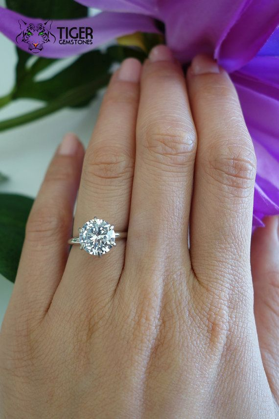 3 Carat 14k White Gold, 9mm, 6 Prong, Round, Solitaire Ring, Engagement Ring, Man Made Diamond Simulant, Promise Ring, Wedding, Bridal Ring
