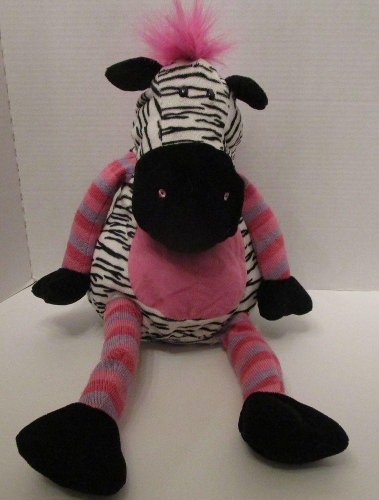 Walmart Zebra Plush Toy Stuffed Pink Large 20 Black White Corduroy