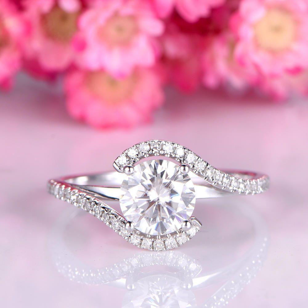 Moissanite engagement ring 6.5mm round shape moissanite ring diamond ...
