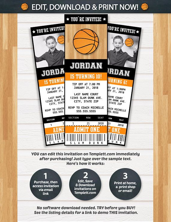 Basketball Invitations Basketball Ticket Invitation Themed - ticket invitation