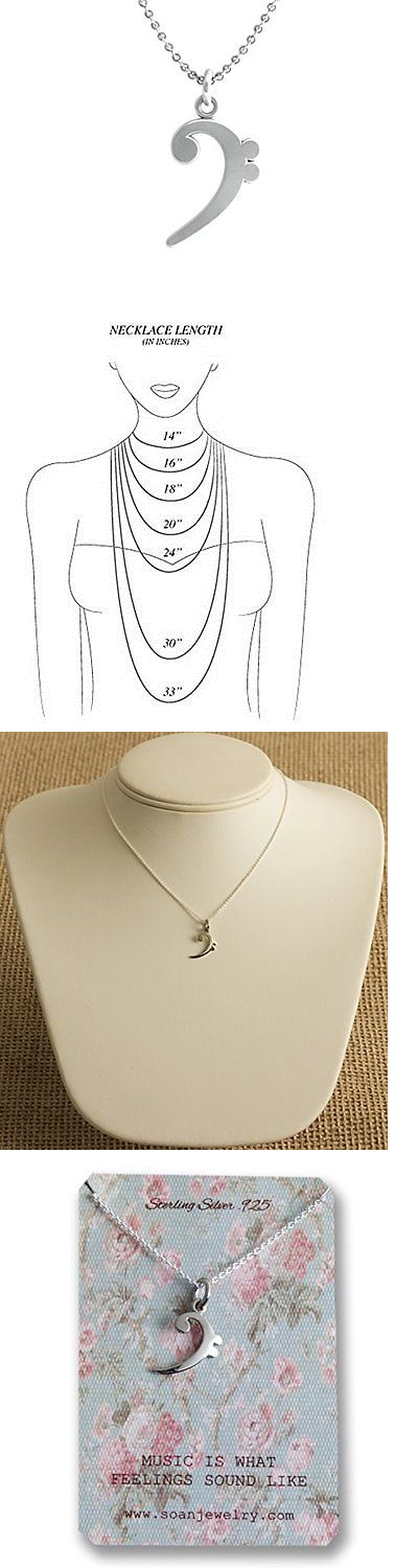 Jewelry 175526 Sterling Silver 925 Necklace Music Note Symbol