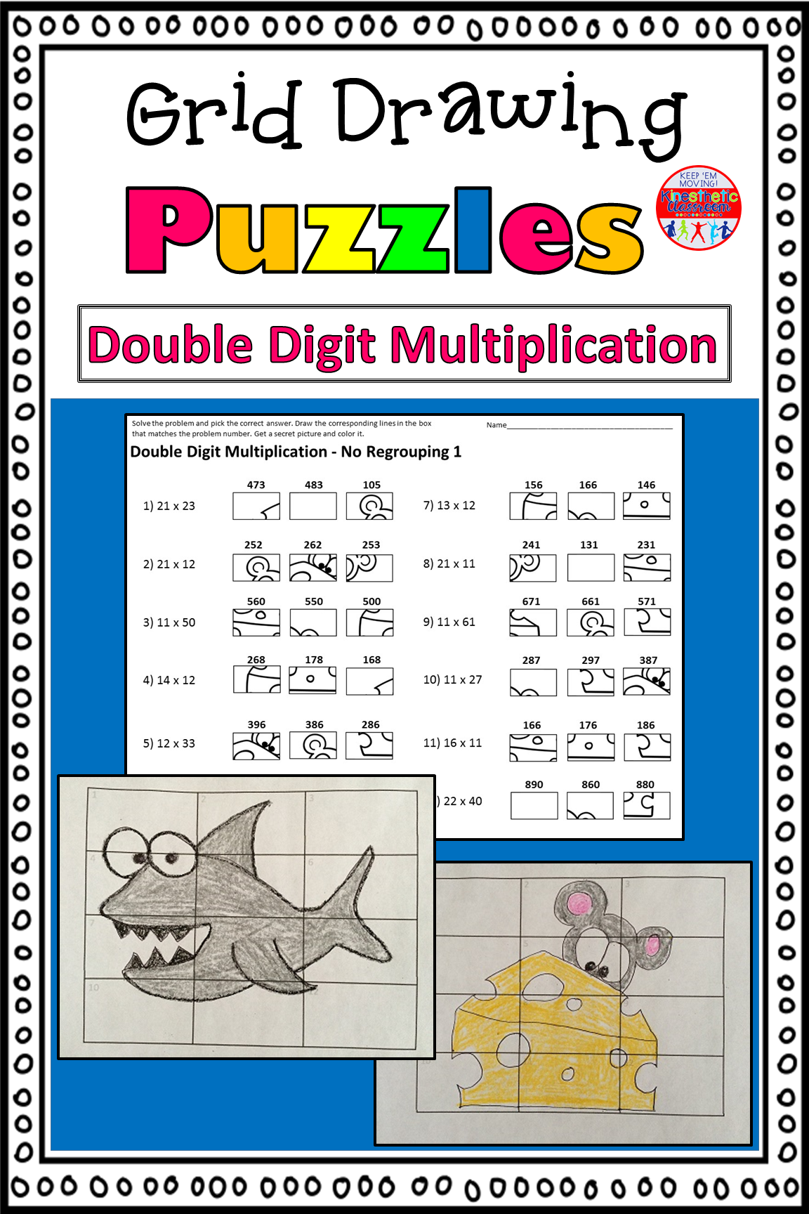 Double Digit Multiplication Activity Grid Drawing Math