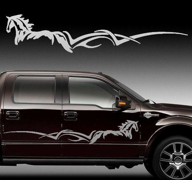 Side Body Horse Stripe Decal Graphic Truck Trailer  Horse - Barrel racing custom vinyl decals for trucks