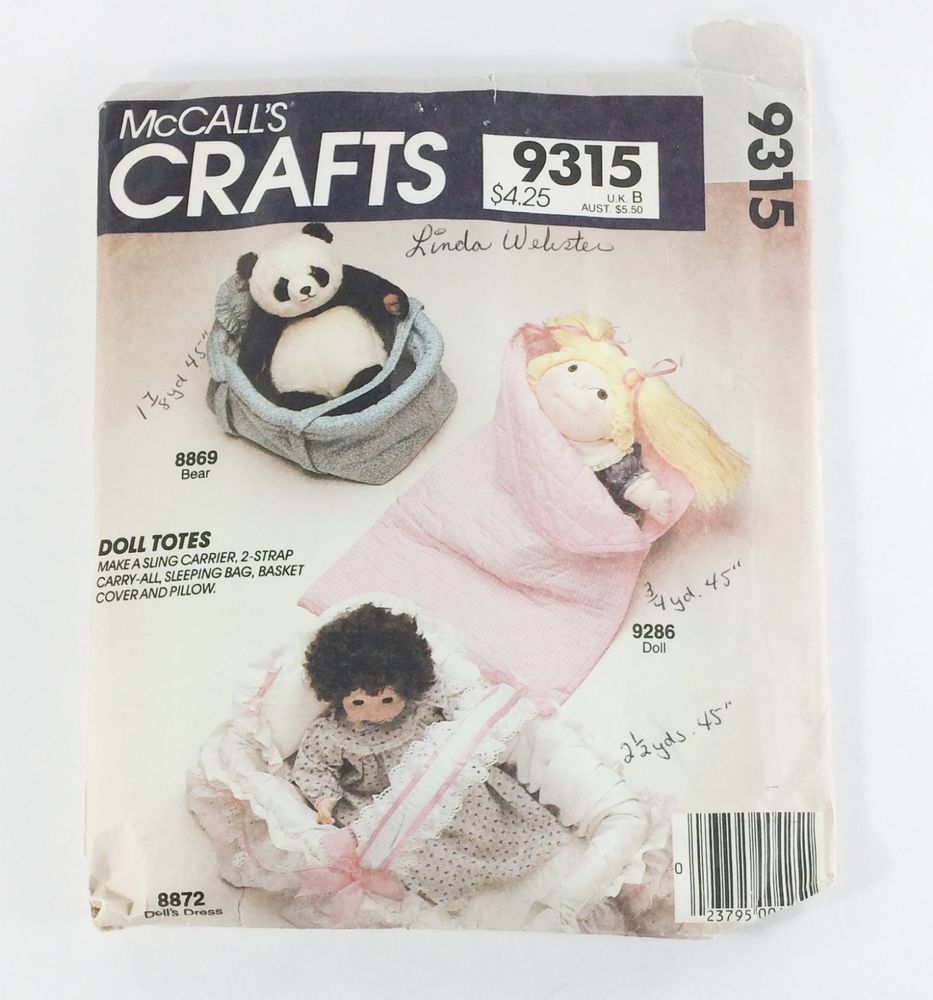 Sewing Pattern McCall\'s 9315 Doll Tote Blanket Basket Cover Pillow ...