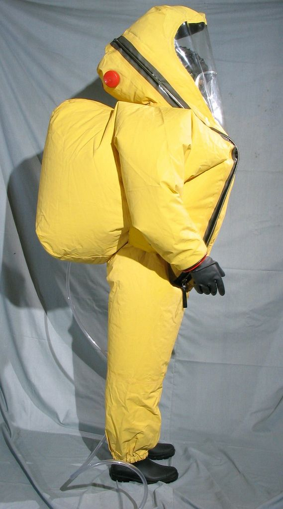 Dark yellow respirex Type A hazmat. Suit with blimp for internal SCBA