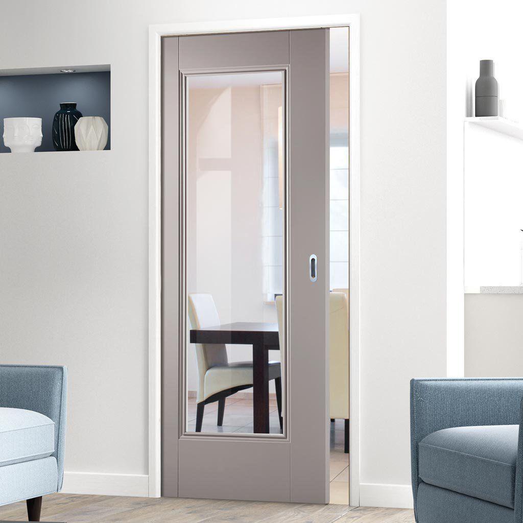 Single Pocket Eindhoven Grey Primed Internal Door With Clear Safety Glass Pocketdoor Concealeddoor Internal Doors Pocket Doors Glass Pocket Doors