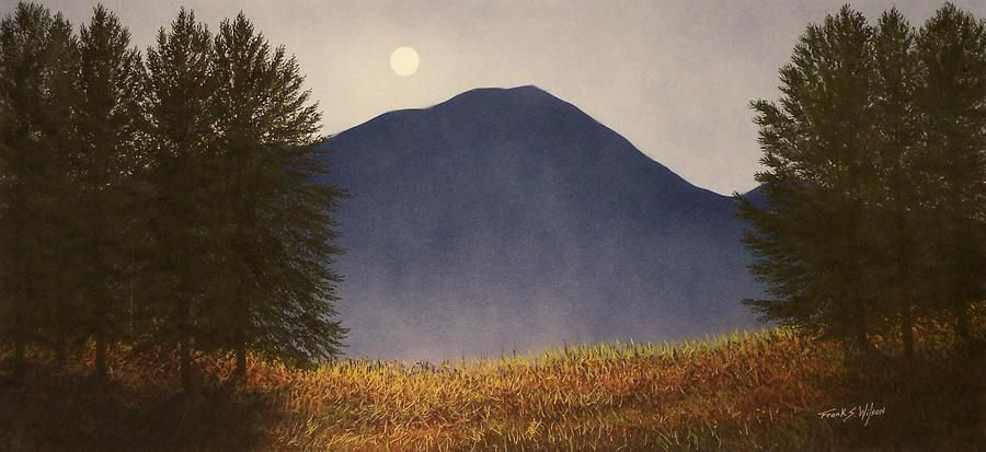 Painting - Moonlit Mountain Meadow by Frank Wilson #affiliate , #Sponsored, #affiliate, #Mountain, #Wilson, #Frank, #Moonlit