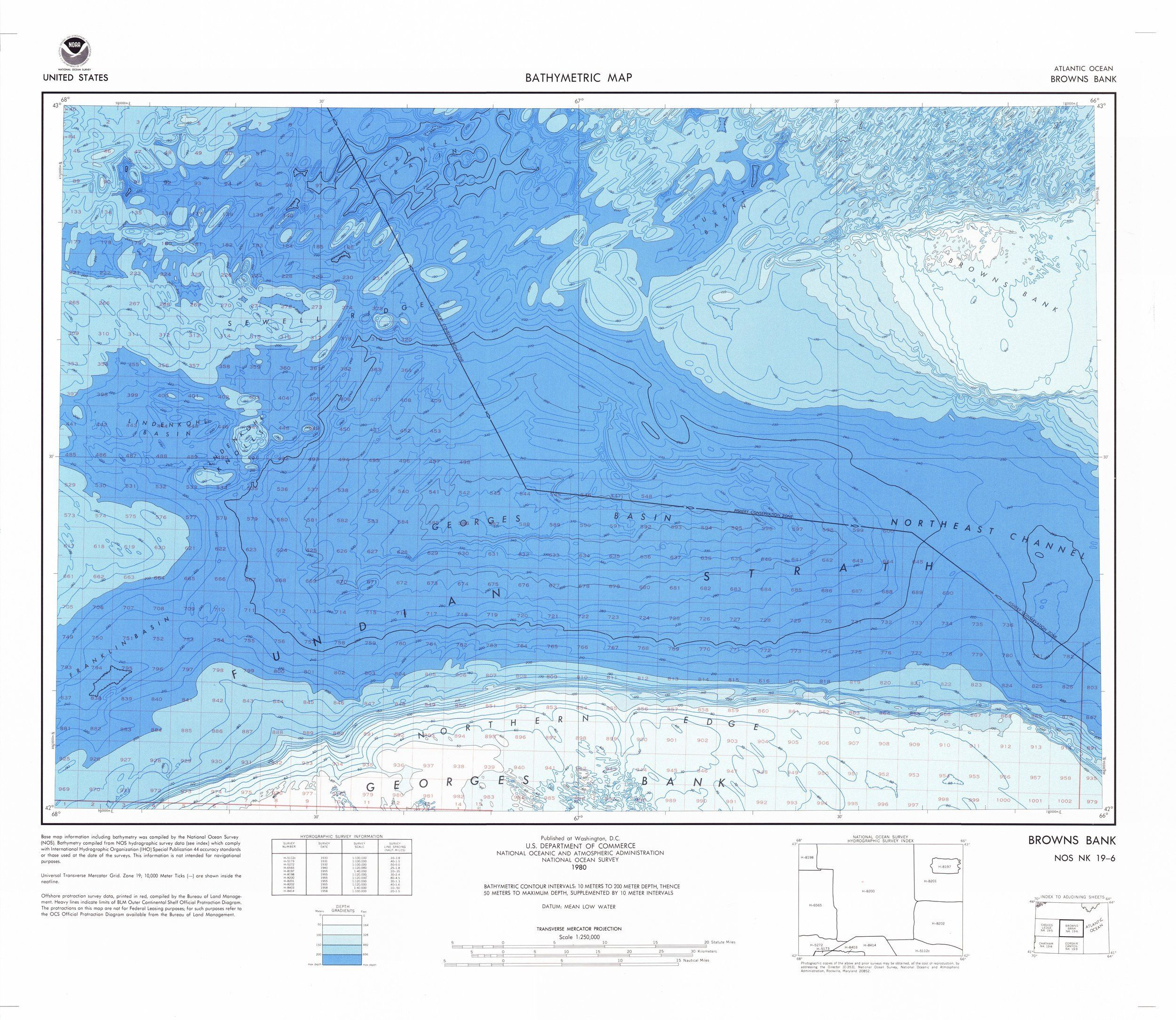 18 X 24 Inch 1980 Usa Old Nautical Map Drawing Chart Of Browns Bank From Noaa X11531 Products Map Chart Drawings
