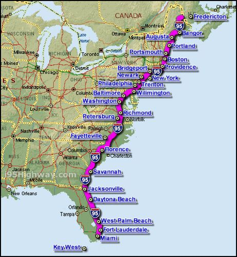 interstate_95_map | NYC | Road trip map, Road Trip, Road trip usa