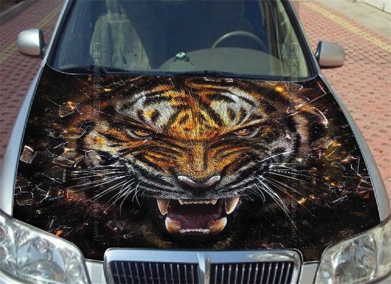 UNIVERSAL CUSTOMIZED Fierce Tiger Car Stickers Hood Head Body - Custom vinyl decals for car hoods
