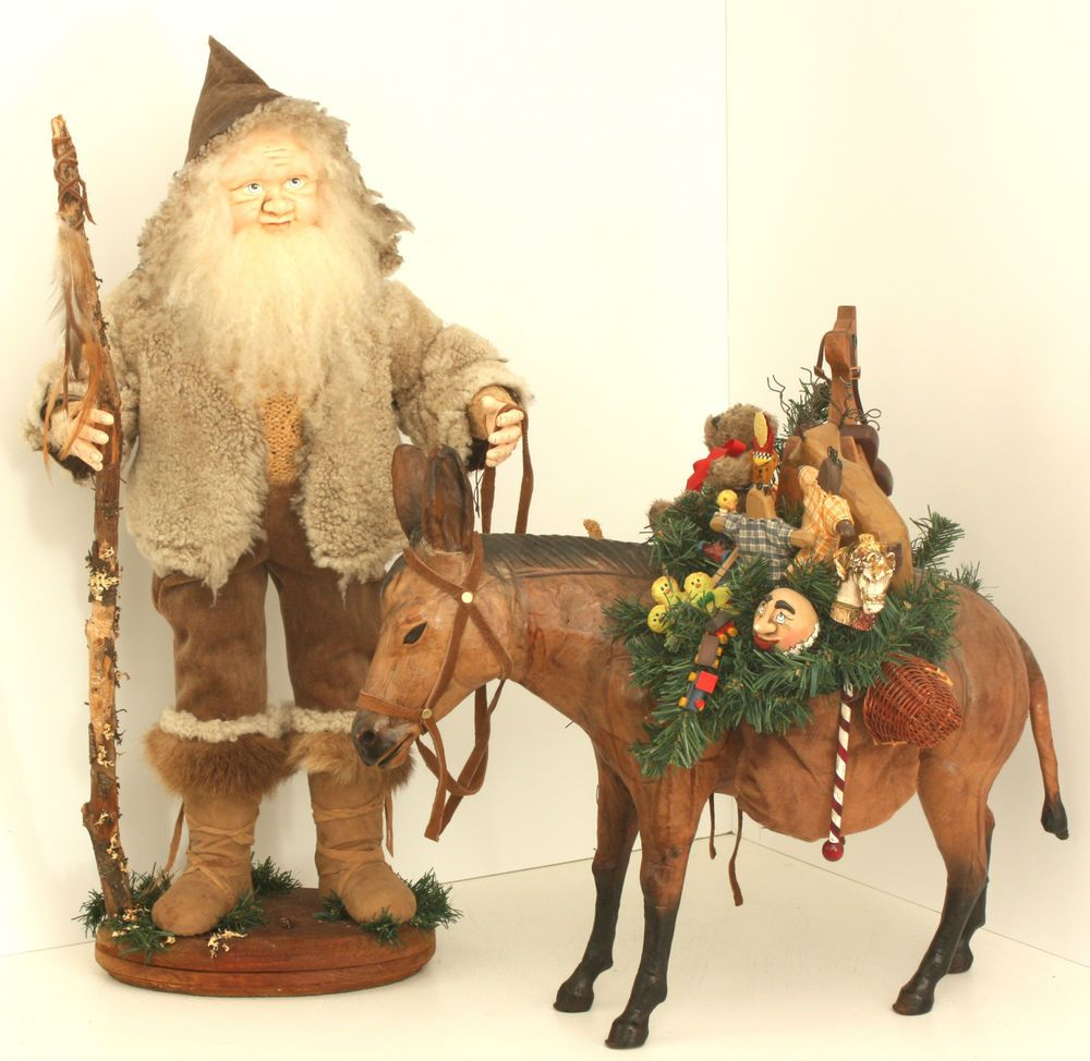 Mountain Santa Claus with Wooden Toy Gifts on Donkey OOAK by Patricia Hinch