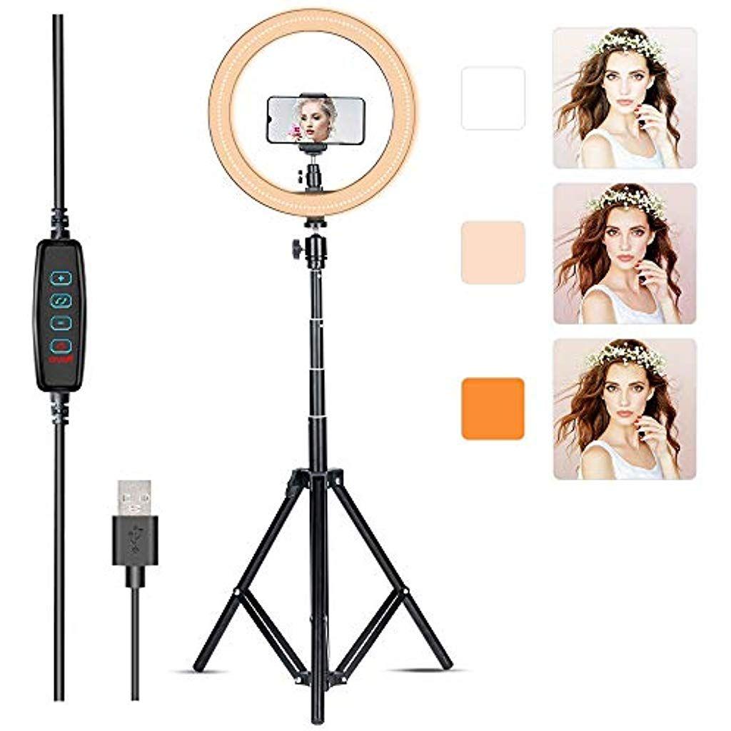 Villsure Led Ring Light 10 Selfie Ring Light With Tripod Stand Phone Holder For Live Stream Make Up Youtube Dimmable 3 Light Modes 3000 6000 K Selfie Ring Light