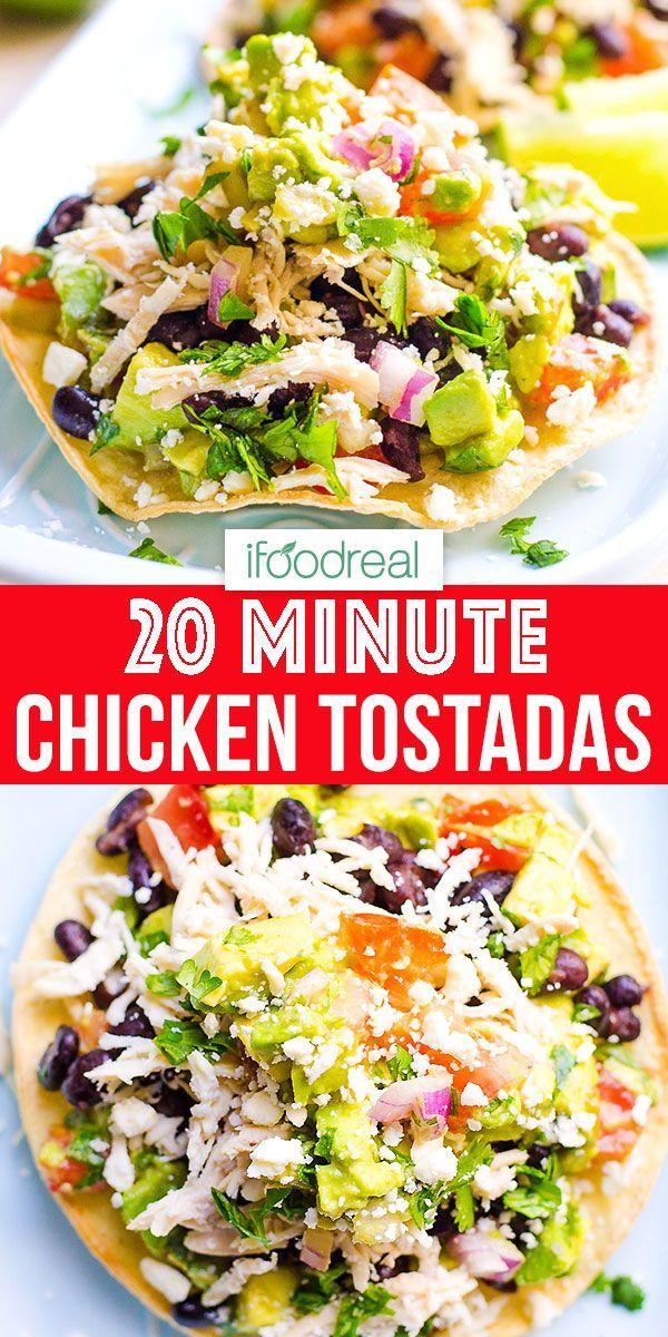 20 Minute Chicken Tostadas - Healthy Dinner Idea #quickdinnerideas
