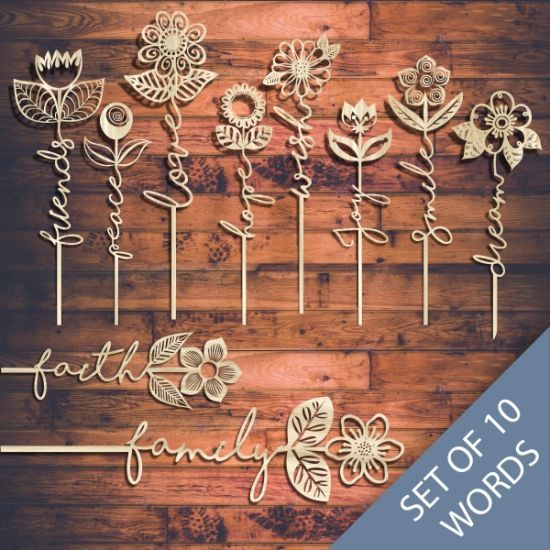 Laser Cut Word Flower Templates Online Store Free Vector