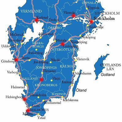 Karte Norwegen Schweden.Südschweden Rundreise Karte Schweden In 2019 Südschweden