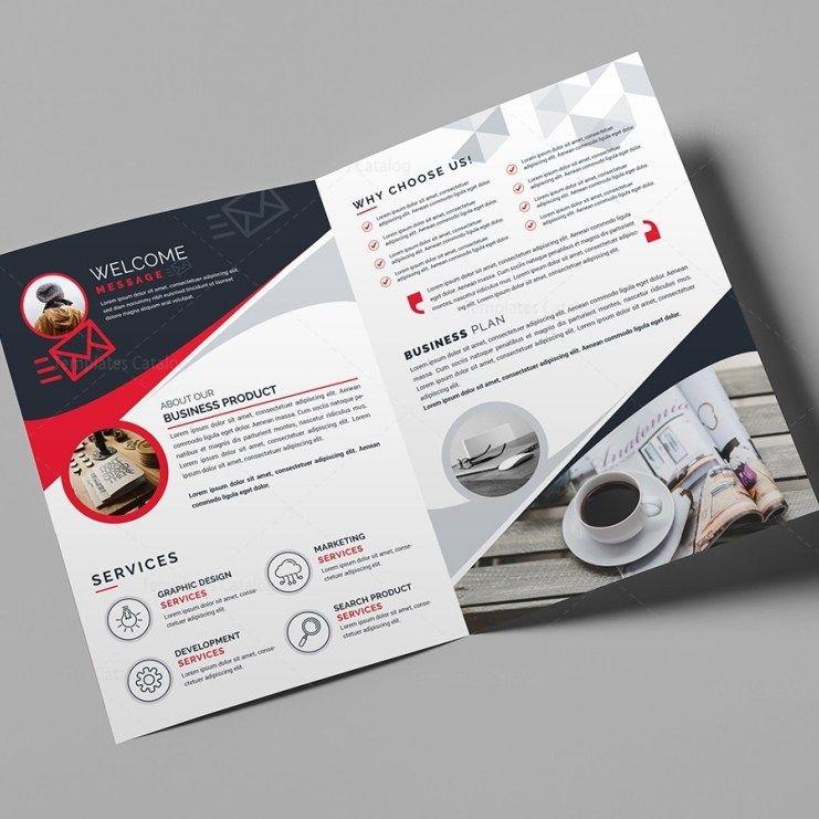 Bi Fold Business Brochure Template Template Catalog Business Card Template Design Modern Business Cards Design Business Brochure