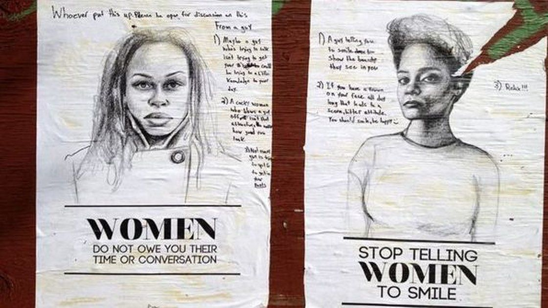 New York artist Tatayana Fazlalizadeh uses posters to combat unwanted cat calls and attention from men in her neighborhood. //