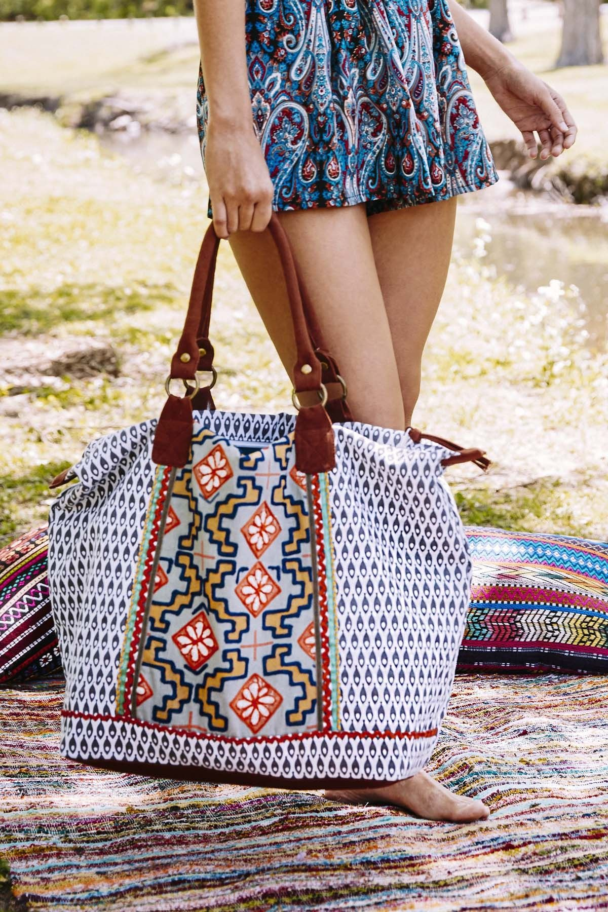 Grey Fish and Aztec Print Travel Tote - Travel - Earthbound Trading Co.