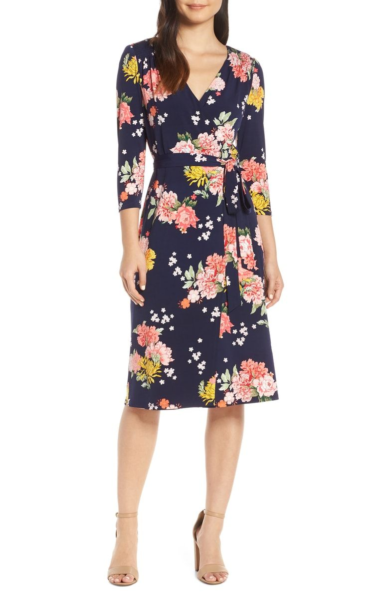 4de50048839589 Free shipping and returns on Eliza J Floral Faux Wrap Dress at  Nordstrom.com.