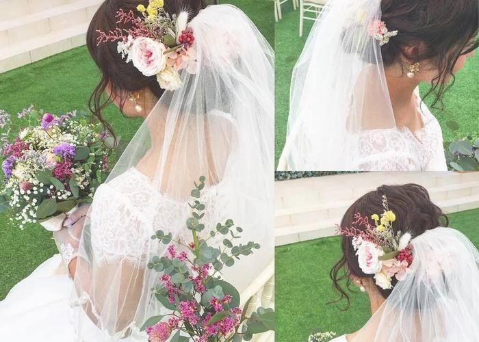 挙式ヘア お花飾りとウェディングベールをつける お勧めの位置