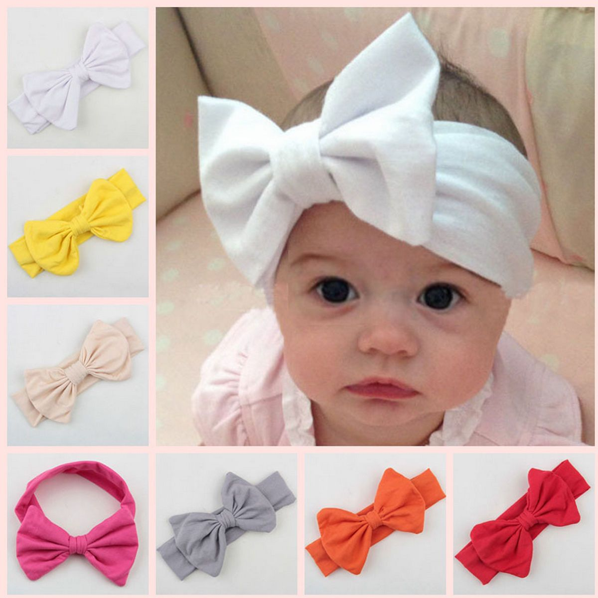Baby Kids Big Bow Hairband Children Headband Stretch Turban Knot Head Wrap New