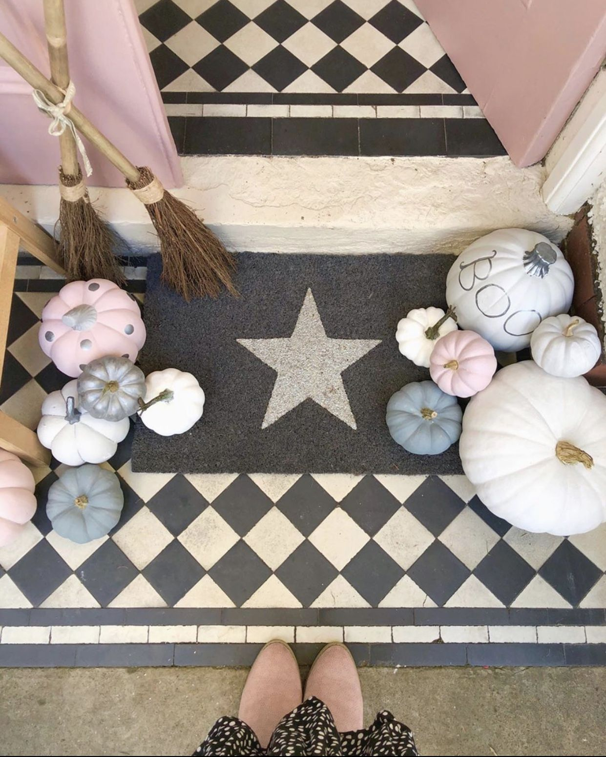 Grey glitter star doormat door mat glitter stars
