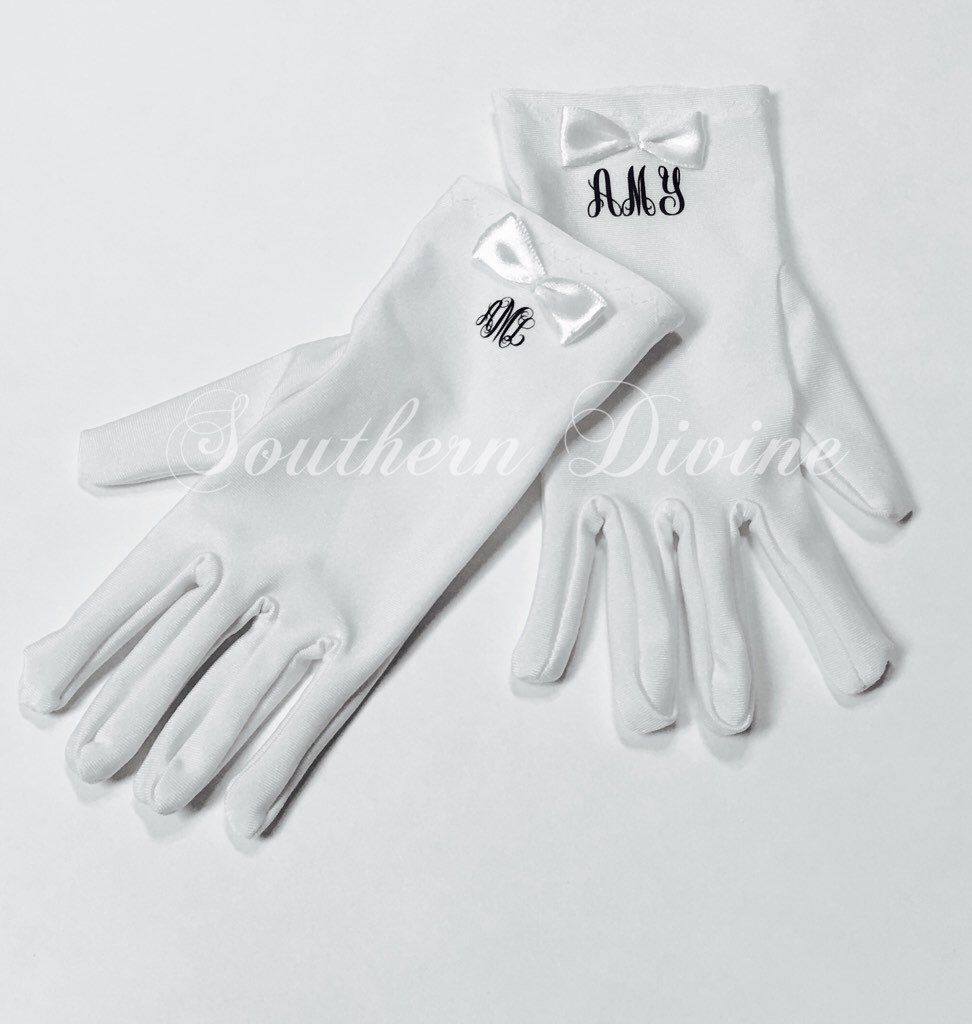 A personal favorite from my Etsy shop https://www.etsy.com/listing/270757283/personalized-girls-white-gloves-monogram