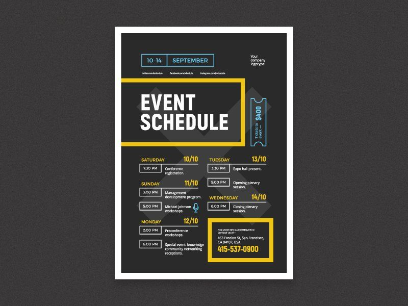 Schedule Event Poster Template  Template Schedule Design And