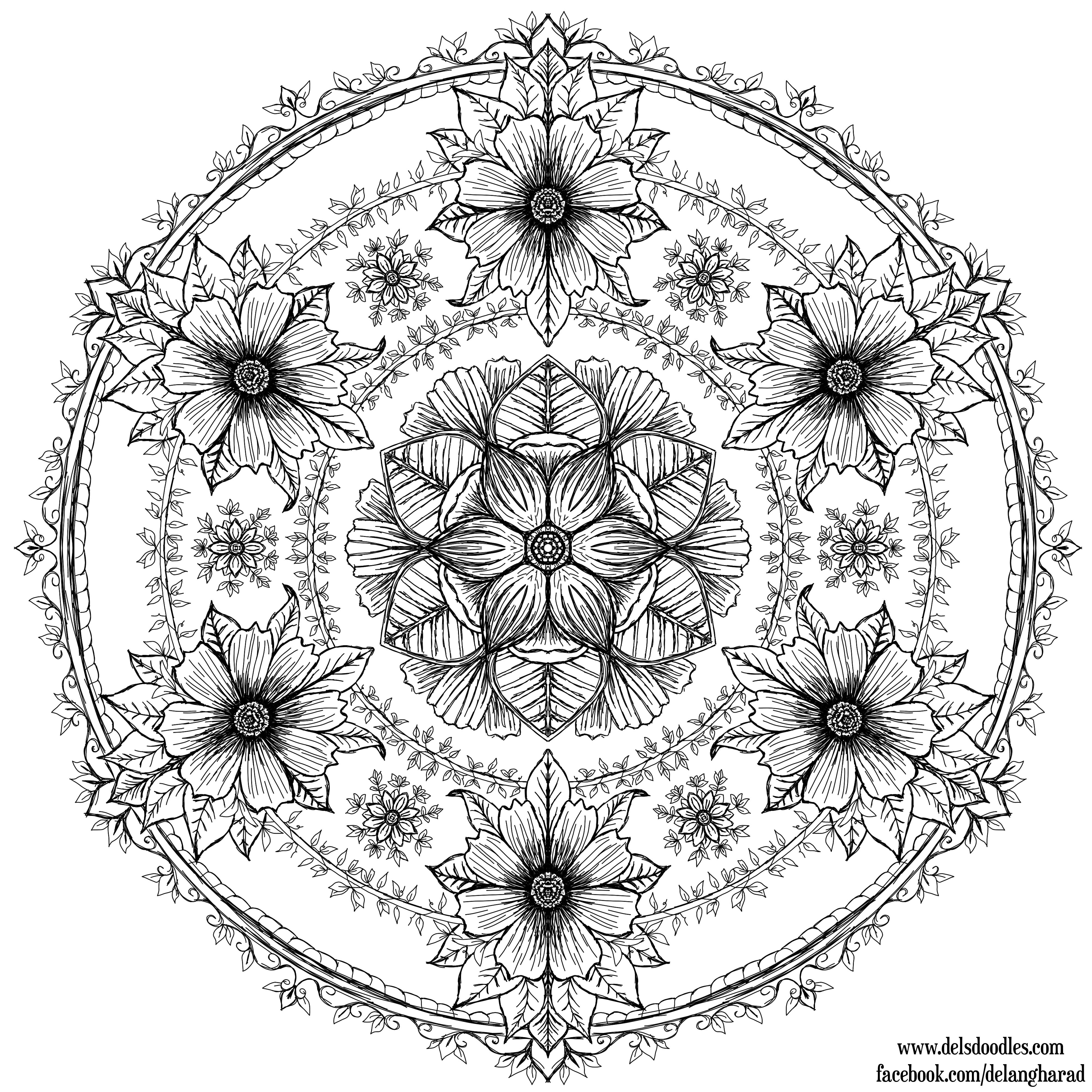 Flowery Circles Mandala By Welshpixie Dai2j20 Png 4000 4000 Mandala Coloring Pages Mandala Mandala Coloring