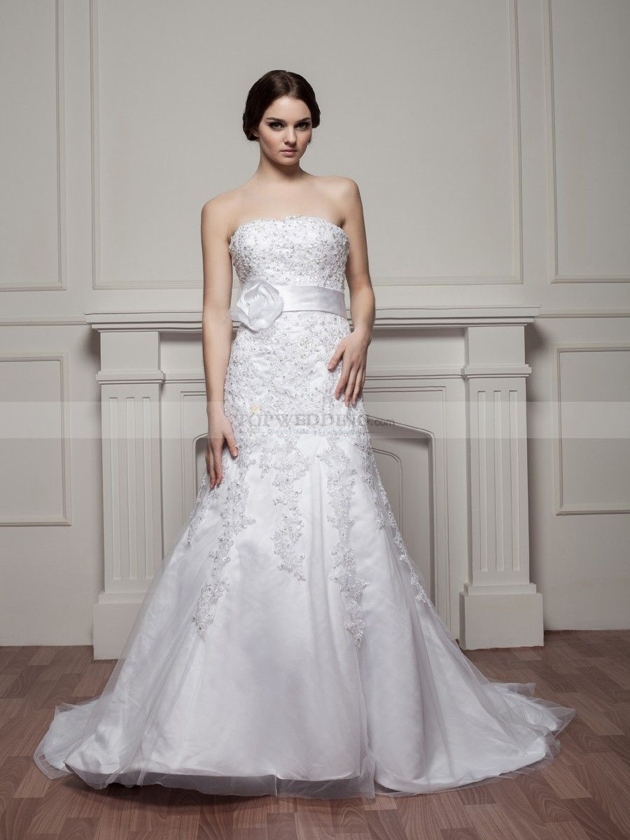 Dazzling beaded and appliqued strapless satin mermaid wedding dress
