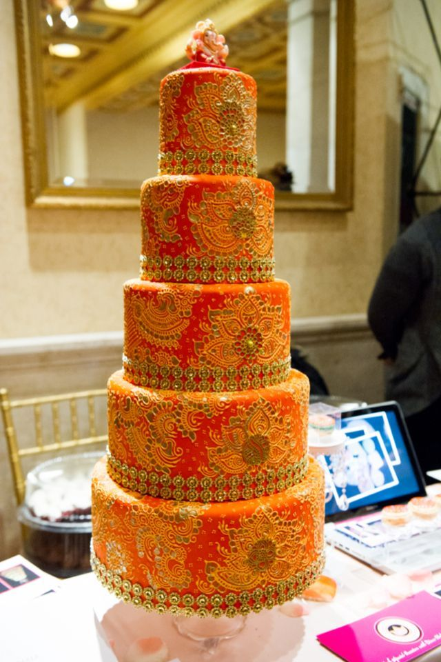 Indian Wedding Cake With Red And Orange