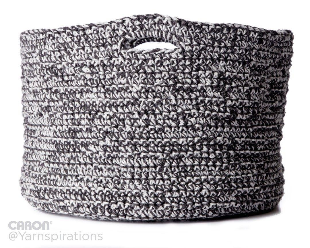 Double Good Crochet Basket | Free Pattern | Caron One Pound | Gray ...